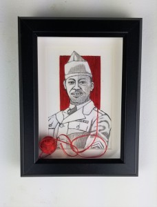 """""""Back From the War #2""""; ( Comes in a frame); 8in x 6in x 1in; Pencil, pen, and needle and thread on paper; Year 2018; Suggested donation is $350"""
