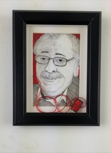 """Dr. Ray""; ( Comes in a frame); 8in x 6in x 1in; Pencil, pen, and needle and thread on paper; Year 2018; Suggested donation is $350"