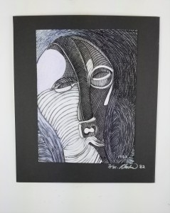 """""""Drawing of African Mask""""; Pencil, gesso and pen on paper; 16.5in x 14in x .5in; Year 1982; Suggested donation is $100"""