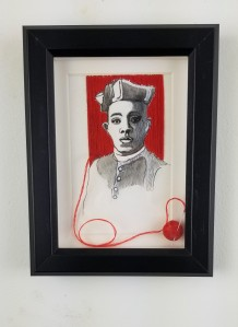 """""""Father Augustus Tolton""""; ( Comes in a frame); 8in x 6in x 1in; Pencil, pen, and needle and thread on paper; Year 2019; Suggested donation is $350"""