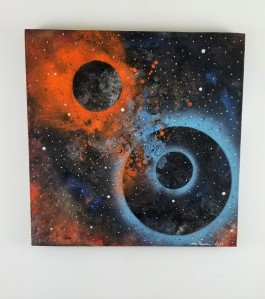 """""""Mars One""""; Paint, oil crayon and bronze powder; 20in x 20in x 1in; Year 2014; Suggested donation is $400"""