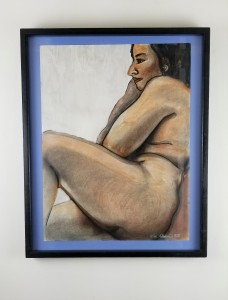 """Reclining Nude""; ( Comes in a frame); Pencil, pen and paint on paper; 27in x22in x1in; Year 1987; Suggested donation is $500"