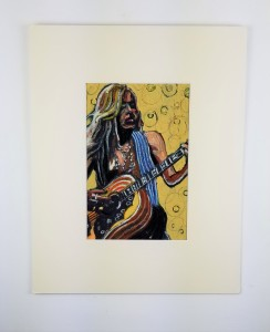 """""""Rock Musician"""" ( Contrast to Background) Paint, crayon and gold leaf on paper; 20in x16in .5in Year 2001; Suggested donation is $100"""