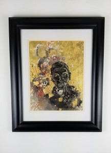 """Self Portrait #10""; ( Comes in a frame) Mono - mixed media print; 22in x 18in x 1in; Year 2009; Suggested donation is $500"